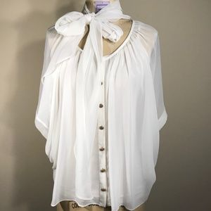 Do&Be White Chiffon Top with Tie Size S